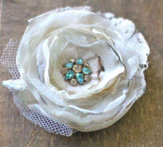 """something blue"" vintage wedding hair flower"