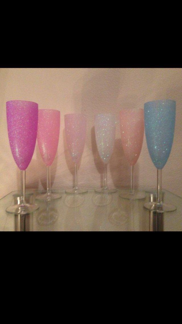 Conjunto de 3 flautas de champán por Littleandfancy en Etsy