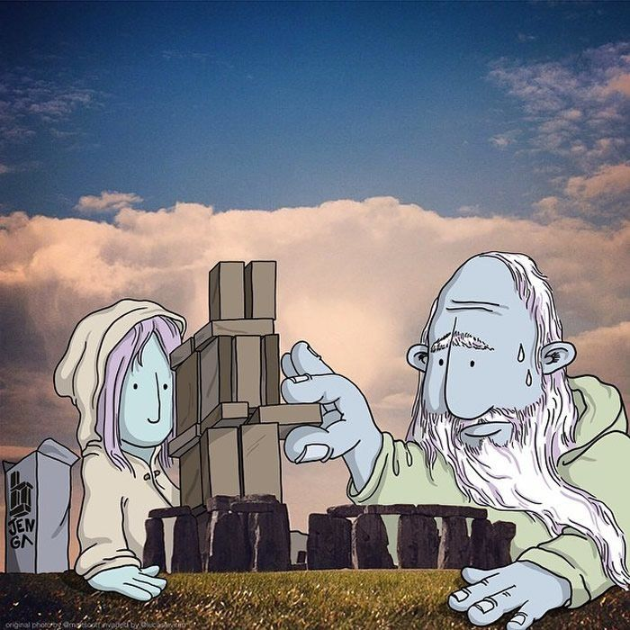 """Stonehenge  """"Photo Invasion"""" - The Awesome Illustrations Combined With Instagram Photos • Page 2 of 5 • BoredBug"""