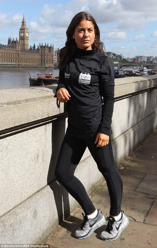 Louise Thompson looks stunning as she trains for London triathlon #dailymail