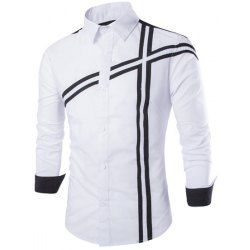 Trendy Slimming Shirt Collar Color Block Stripe Splicing Long Sleeve Polyester Shirt For Men from $12.44 by NASTYDRESS