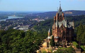 Обои Германия, деревья, Drachenburg, дома, панорама, река, замок