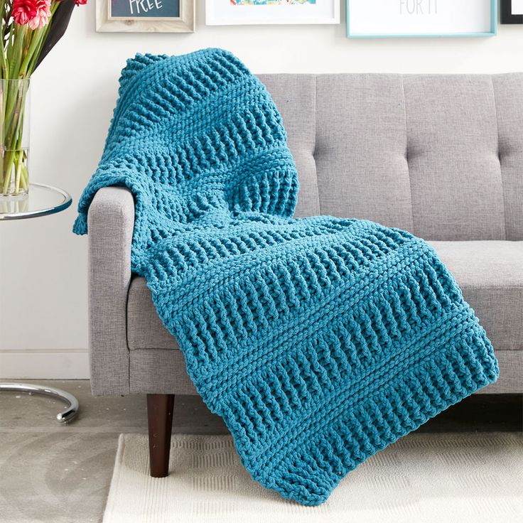 Beautiful crochet blanket made with Bernat blanket yarn