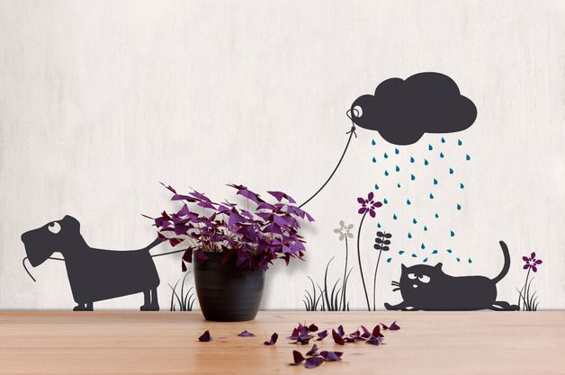 autumn in DaWanda Wall Stickers – wall sticker 'Friedegunde in the rain' – a unique product by catsonappletrees on DaWanda