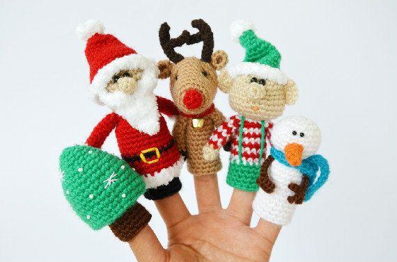 Christmas finger puppets set, crochet finger puppets, Christmas gift, Crochet Santa Claus, reideer, elf, snowman, christmas tree