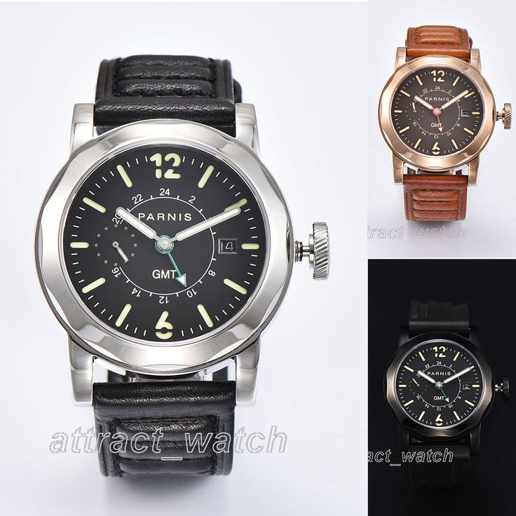 44mm Parnis GMT Automatic Movement Men's Watch Sapphire Crystal Date Indicator #Parnis #Casual