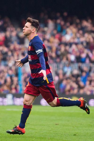 Lionel Messi of FC Barcelona celebrates after scoring the opening goal  during the La Liga match between FC Barcelona and RC Deportivo La Coruna at  Camp Nou ... 8ddd94a8ca034