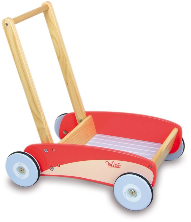 Un chariot de marche en bois rouge signé vilac parfait pour faire ses premiers pas en toute sécurité. A partir de 1 an+