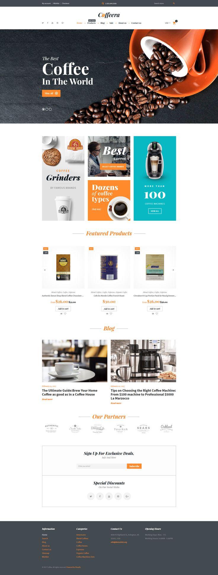 Coffee Shop Responsive Shopify Theme #62324