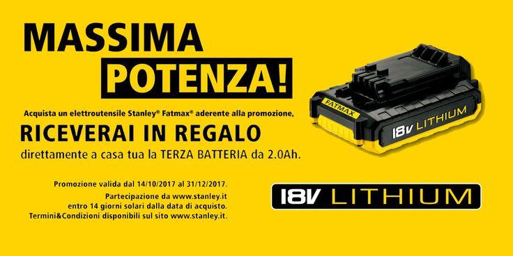 Acquista STANLEY fino al 31/12 ti Regala la 3 batteria!!! Vieni in negozio e scegli il Tuo nuovo Elettroutensile 😉