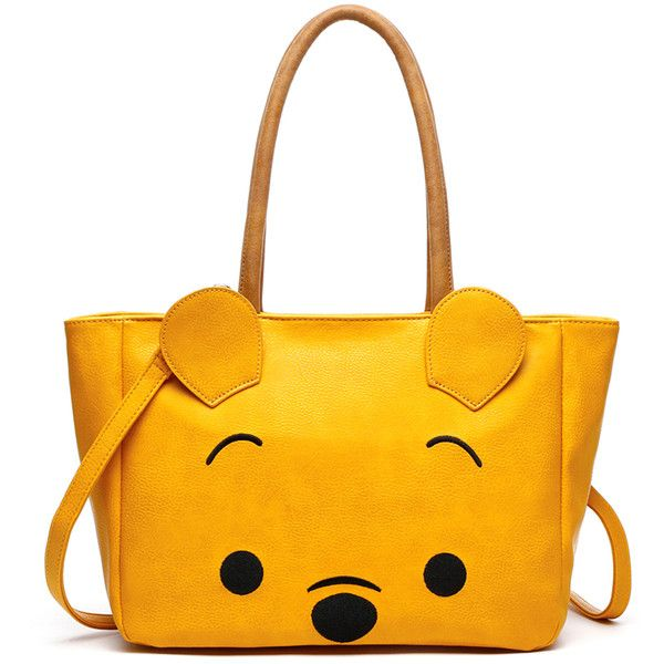 Anna Ricci Yellow Bear Tote (€40) ❤ liked on Polyvore featuring bags, handbags, tote bags, crossbody tote, yellow tote bag, white handbags, zip tote and white purse