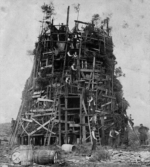 Ushaw College Bonfire (looks like a Babel tower)