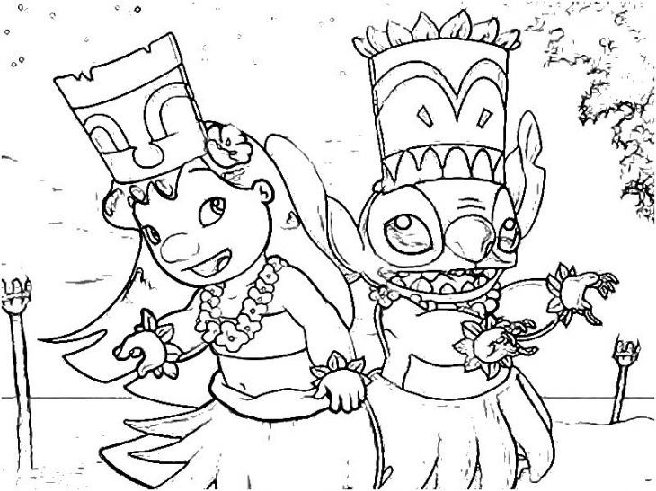 Lilo And Stitch Doing Traditional Hawaiian Dance Coloring Page