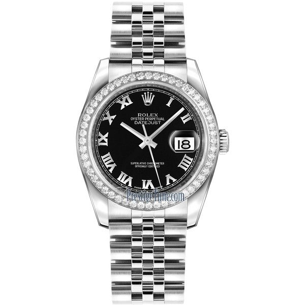 Rolex Datejust 36mm Stainless Steel 116244 Black Roman Jubilee Watch ($13,320) ❤ liked on Polyvore featuring jewelry, watches, stainless steel, polish jewelry, crown jewelry, stainless steel jewelry, stainless steel watches and rolex jewelry