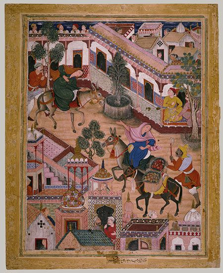 Spy Zambur Brings Mahiya to Tawariq, Where They Meet Ustad Khatun: Page from the Hamzanama (Adventures of Hamza), The [India] (23.264.1) | Heilbrunn Timeline of Art History | The Metropolitan Museum of Art
