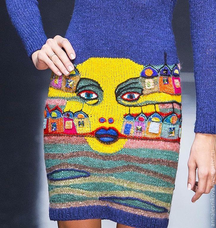 """Купить Платье """"По картине Хундертвассера"""" - тёмно-синий, рисунок, Анна Лесникова, дизайнерская одежда"""