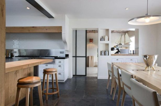 Kitchen Contemporary Design Studio White Tile Wall Backsplash Pendant Lamps Bar Stools Idea Wooden Dining Table.jpg Astonishing