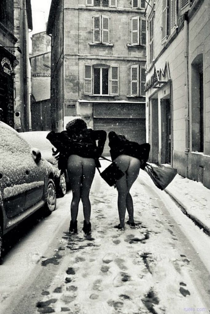 Only two things came to mind when I saw this; 1.) WHY are they wearing dresses in the snow? 2.) WHY WOULD YOU NOT WEAR UNDERWEAR WITH THOSE DRESSES??!!!