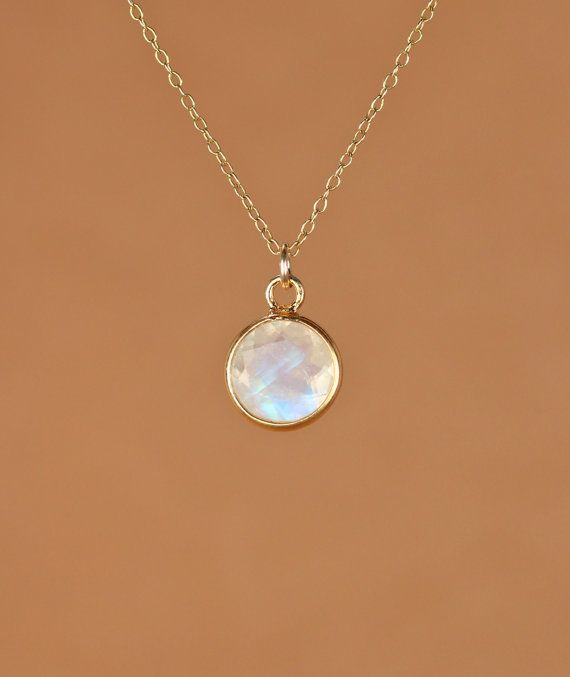 Moonstone necklace  gold moonstone  june birthstone  by BubuRuby