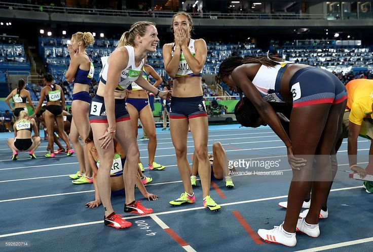 Emily Diamond, Eilidh Doyle Anyika Onuora and Christine Ohuruogu of Great Britain react after winning bronze in the Women's 4 x 400 meter Relay on Day 15 of the Rio 2016 Olympic Games at the Olympic Stadium on August 20, 2016 in Rio de Janeiro, Brazil.