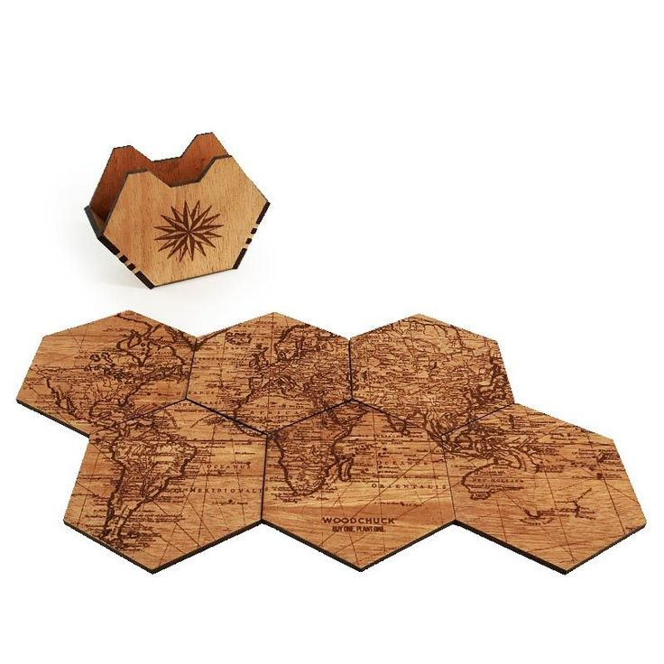 Our unique wood coaster sets are made from real wood then designed and and manufactured right here in Minneapolis. Puzzle the wood coasters together to complete the 6 piece coaster map, or store them