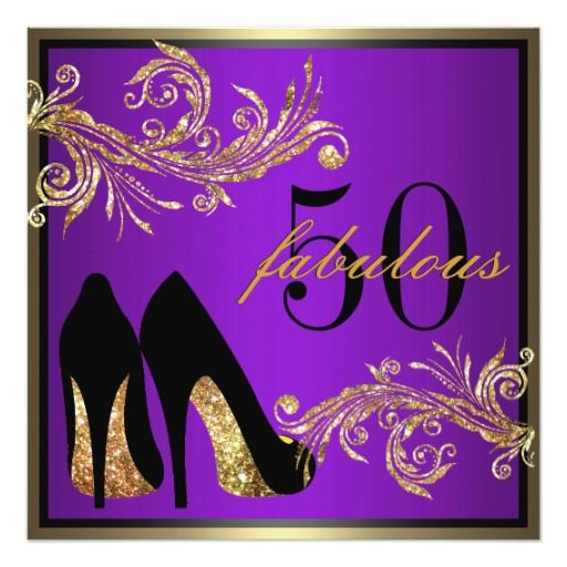 dancing shoes fabulous 50th birthday invitation