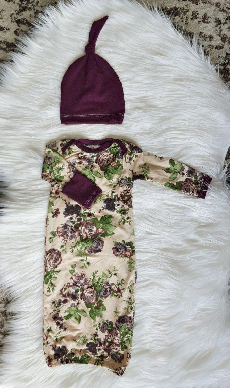 Vintage Plum Newborn Gown with Matching Knot by brambleandbough