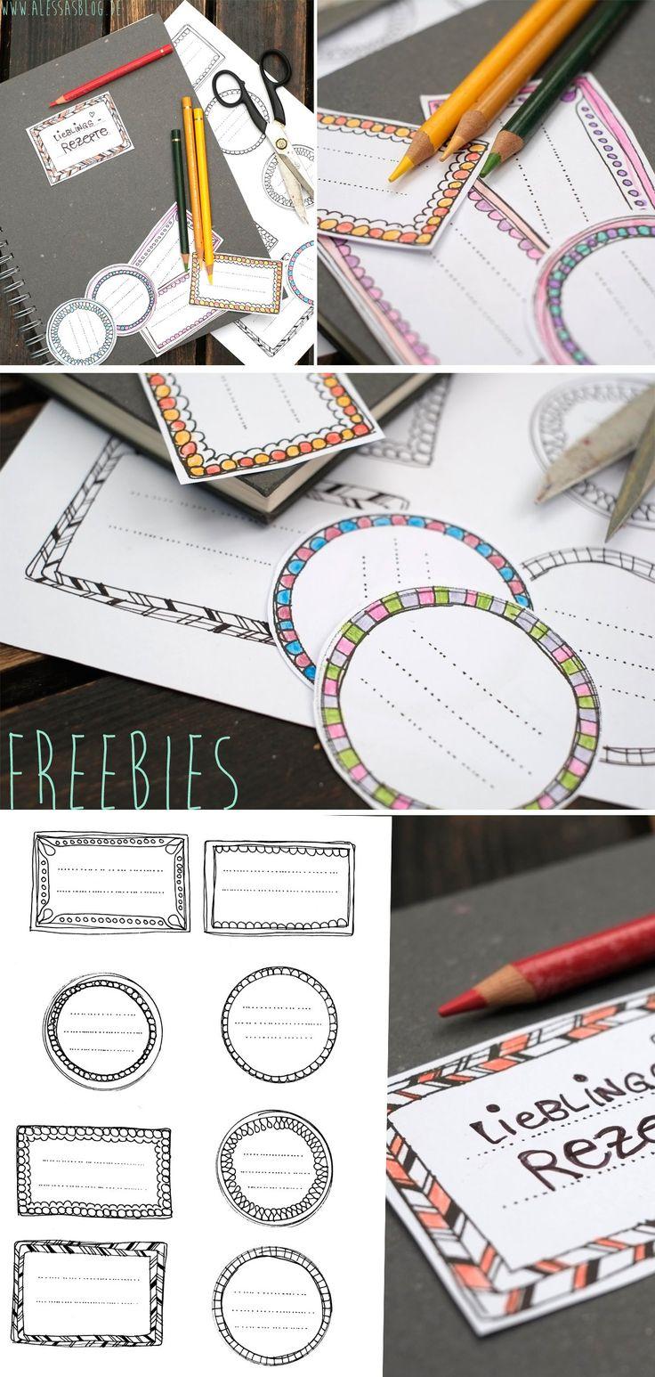 Gezeichnete Etiketten zum Ausdrucken, Ausschneiden und Ausmalen gibt's als freebies auf meinem Blog: http://alessa-accessoires.blogspot.de/2013/08/freebies-dekoration-mit-schildern-und.html