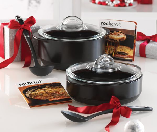 """For The Foodie: A """"Pin It To Gift It"""" exclusive gift set: Our new Rockcrok™ Everyday Pan and Rockcrok™ Dutch Oven, bundled with The Pampered Chef® Cooking Tools Ladle and The Pampered Chef® Cooking Tools Spoon."""