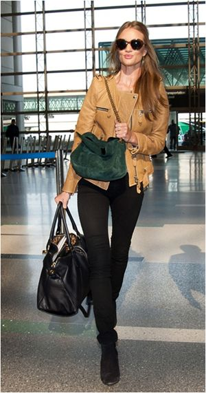 Rosie Huntington Whiteley jet set style at Heathrow Airport, London.  ᘡղbᘠ