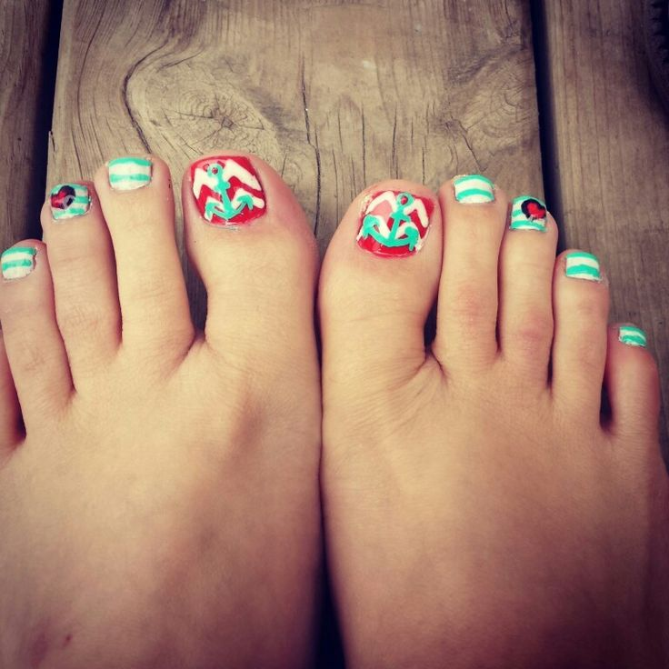 #toes #anchor #pedicure #nail art #chevron - 106 Best Anchor Nails ⚓ Images On Pinterest Anchor Nails