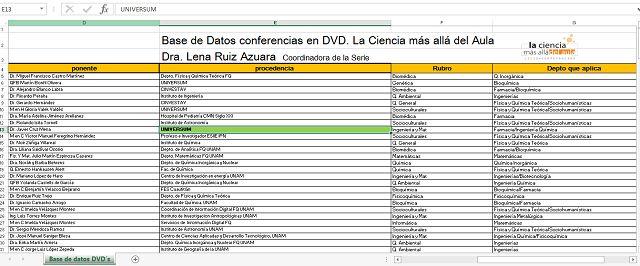 Facultad de Química UNAM- - Enseñanza - La Ciencia Más Allá del Aula - Videoteca Una base de datos con las conferencias disponibles en formato DVD a tu disposición para consulta.