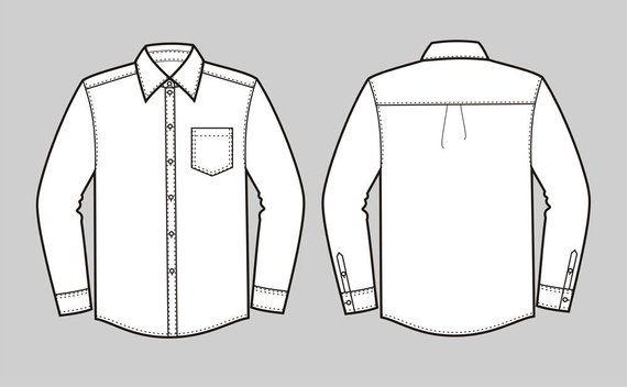 button down shirt vector fashion flat sketch adobe. Black Bedroom Furniture Sets. Home Design Ideas