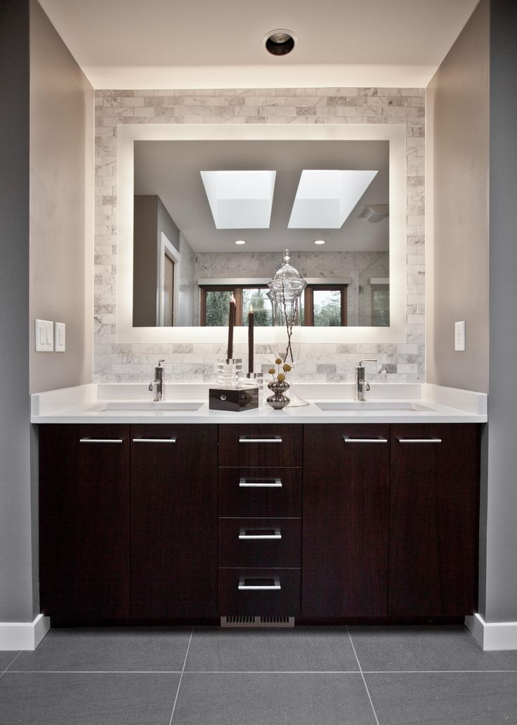 45 RELAXING BATHROOM VANITY INSPIRATIONS Backlit Bathroom MirrorDark Wood