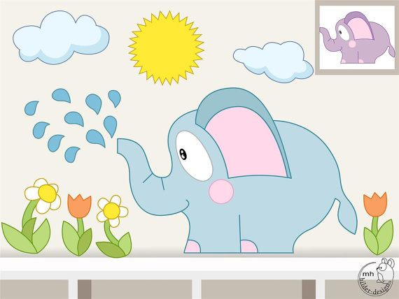 Wall Decal Set: Elephant with water drops, flowers, clouds, sun sheet 56cm x 53 cm Thickness 0,08 mm  Production: • Own design and own manufacture in Germany, no stock items • print with ecologically safe and solvent-free inks on high-quality films  Material: • Self-adhesive , removable vinyl film • razor-thin, durable, sturdy and UV protected • adheres to almost all solid and smooth surfaces and on ingrain and textured wallpaper  Notes: • Surface must be free of dust, grease, silicone…