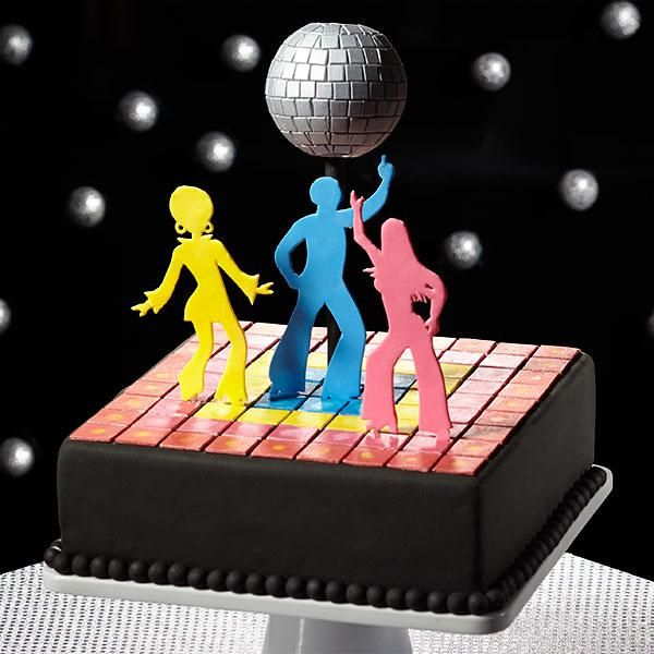 1970s Fondant Cake: Get Down to Disco - The disco is where it all happened in the 70's! The hottest fashions, the coolest dance moves and that relentless disco beat. Experience those good times again with this fantastic fondant cake. Decorator Preferred Fondant and Pearl Dust Edible Accents give it that 70s sparkle, from the lighted up dance floor to the shimmering disco ball!