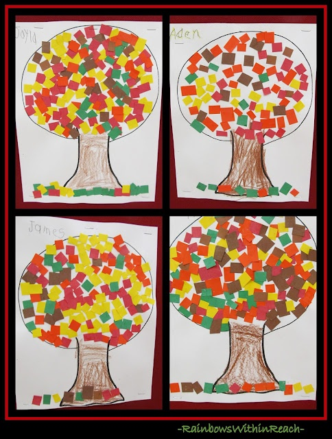 Fall Trees using Construction Paper 'Mosaic' Leaves (Fall RoundUP via RainbowsWithinReach)