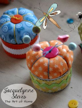 Adorable Tuffet Pin Cushion project, use up your fabric scraps, bits of ribbon and trim, and button collection! Such a cute gift to make!