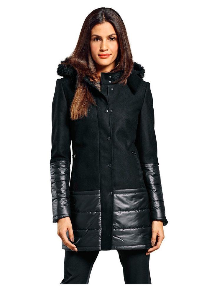 manteau femme aspect doudoune et caban zip col. Black Bedroom Furniture Sets. Home Design Ideas