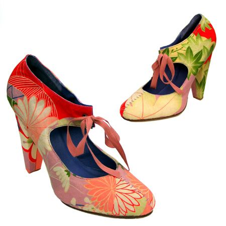 Hetty Rose shoes                        Heel Height: 100mm  Heel Type: Self covered  Upper material: Vintage kimono textile fabric  Lining: Leather  Sole: Leather