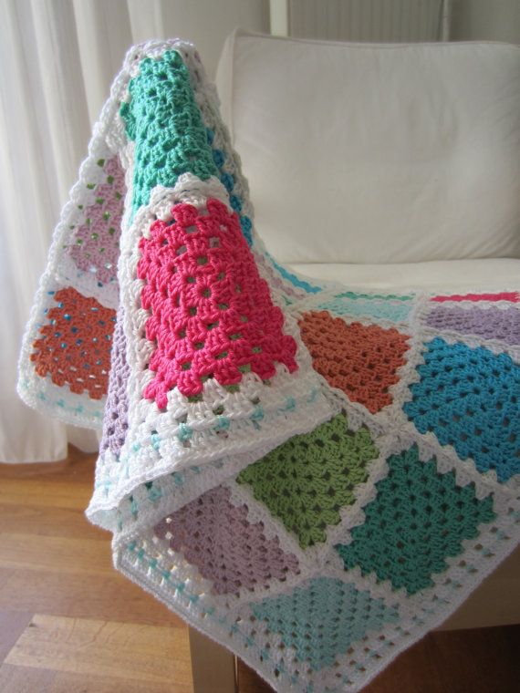 Crochet Baby Blanket  Granny Squares  Pastel by Wennies on Etsy, $105.00. I could totally replicate this in my preferred colors!