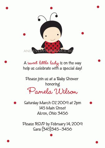 Ladybug Lady Bug Baby Shower Invitation (Birthday)