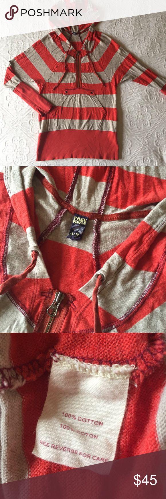 Free People - Striped Zip Up Pullover Hoodie Free People - Striped Zip Up Pullover Hoodie Free People Tops Sweatshirts & Hoodies