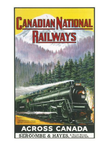 Canadian National Railways Poster Showing a Steam Engine Train in Canada Giclee Print at AllPosters.com