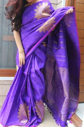 Jamuni kanchevaram silk saree with big flower zari