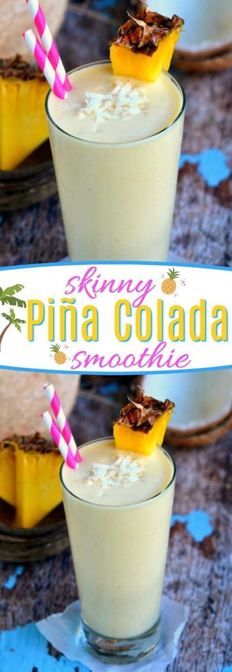 You are going to go coco-nuts for this delicious Skinny Pina Colada Smoothie made with Greek yogurt and lite coconut milk! Perfect for breakfast or after-school snacks! // Mom On Timeout #smoothie #recipe #skinny #coconut #pineapple #Greekyogurt #protein #breakfast