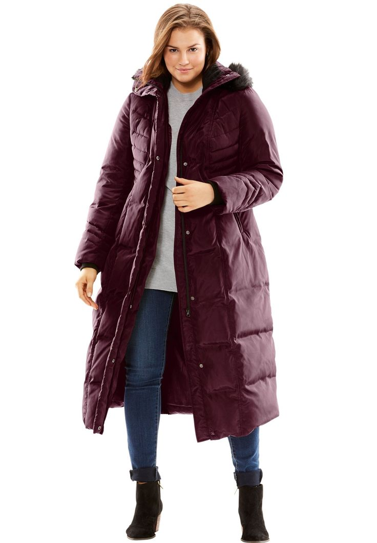 Hooded quilted down coat - Women's Plus Size Clothing