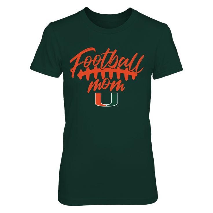 Miami Hurricanes Football Mom. Officially licensed and only available  HERE! Click to view more colors and styles, including a Miami Hurricanes men's  t-shirt, women's t-shirt, hoodie, tank top, long sleeve t-shirt, crew  sweatshirt and stickers. Please note this is an affiliate link and we may earn  a small commission on purchases at no extra cost to you. Thanks and go Canes!   Miami clothes | Miami sweatshirt | Miami outfits | Miami t-shirts | #MiamiHurricanes  #TheU #ItsAllAboutTheU
