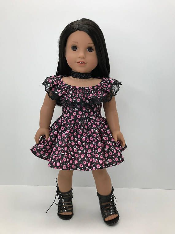 """18 inch,18"""" doll clothes- Pretty Ruffle neckline dress in black with dainty pink flowers. #americangirl #dollclothes #affiliate #dolldress #etsy"""
