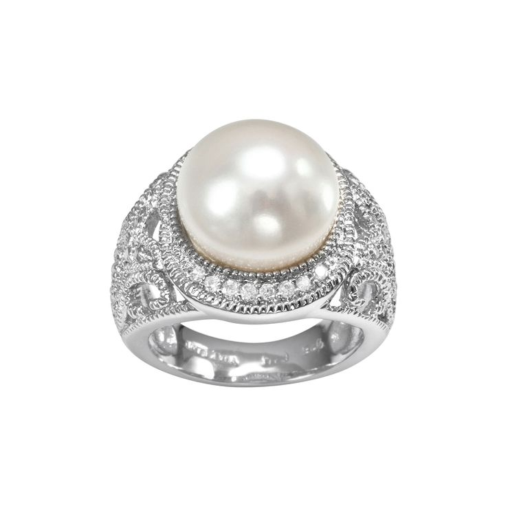 Sophie Miller Sterling Silver Freshwater Cultured Pearl and Cubic Zirconia Filigree Halo Ring, Women's, Size: 7, White